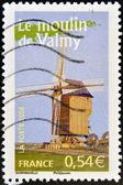 франция - около 2006: марку, напечатанную во франции показывает на мельницу вальми, около 2006 — Стоковое фото