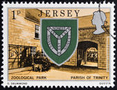 JERSEY - CIRCA 1976: a stamp printed in Jersey shows Arms of Trinity and Zoo, circa 1976 — Stock Photo