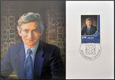 LIECHTENSTEIN - CIRCA 1982: A stamp printed in Liechtenstein shows Hereditary Prince Hans Adam, circa 1982 — Stock Photo