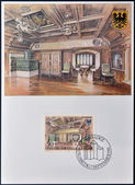 LIECHTENSTEIN - CIRCA 1981: A stamp printed in Liechtenstein dedicated to Gutemberg Castle shows parlour, circa 1981 — Stock Photo