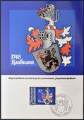LIECHTENSTEIN - CIRCA 1982: A stamp printed in Liechtenstein shows Arms of Joseph Anton Kaufmann, circa 1982 — Stock Photo
