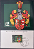 LIECHTENSTEIN - CIRCA 1982: A stamp printed in Liechtenstein shows Arms of Johann Kaiser, circa 1982 — Stock Photo