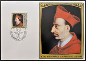 LIECHTENSTEIN - CIRCA 1981: A stamp printed in Liechtenstein dedicated to portraits of famous visitors to Liechtenstein shows St Carlo Borromeo, circa 1981 — Foto de Stock