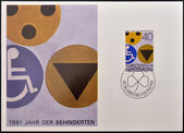 LIECHTENSTEIN - CIRCA 1981: A stamp printed in Liechtenstein shows symbols for the disabled, circa 1981 — Stock Photo