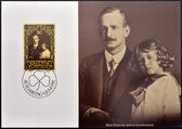 LIECHTENSTEIN - CIRCA 1981: A stamp printed in Liechtenstein shows Prince Franz Josef with his father, circa 1981 — 图库照片