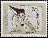SWITZERLAND - CIRCA 2002: stamp printed in Switzerland shows Clown, circa 2002 — Stock Photo