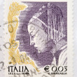 ITALY - CIRCA 2002: stamp printed in Italy shows Queen of Sheba from The Meeting of King Solomon and the Queen of Sheba by Piero della Francesa, circa 2002 — Stock Photo
