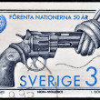 SWEDEN - CIRCA 1995: A stamp printed in Sweden shows Image of Non Violence sculpture by Fredrik Reutersward, circa 1995 — Stock Photo