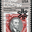 UNITED STATES OF AMERICA - CIRCA 1989: A stamp printed in US, dedicated to the World Stamp Expo-89, Washington, shows Lincoln, circa 1989  — Stock Photo