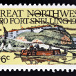 UNITED STATES OF AMERICA - CIRCA 1970: A Stamp printed in USA shows the Fort Snelling, Keelboat & Tepees, 150th anniversary, circa 1970  — Stock Photo