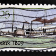 Stock Photo: UNITED STATES OF AMERICA - CIRCA 1989: A stamp printed in USA shows Ship Phoenix (1809), Steamboats series, circa 1989