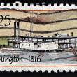 Stock Photo: UNITED STATES OF AMERICA - CIRCA 1989: A stamp printed in USA shows Ship Washington (1816), Steamboats series, circa 1989