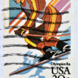 UNITED STATES OF AMERICA - CIRCA 1984: A stamp printed in USA shows slalom, Winter Olympic Games, circa 1984  — Stock Photo