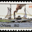 UNITED STATES OF AMERICA - CIRCA 1989: A stamp printed in USA shows Ship New Orleans (1812), Steamboats series, circa 1989  — Stock Photo