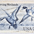 UNITED STATES OF AMERIC- CIRC1984: Stamp printed in USshows Mallards Dropping In, by Jay N. Darling, 50th Anniversary of Waterfowl Preservation Act, circ1984 — Stock Photo #29387283
