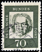 GERMANY - CIRCA 1961: A stamp printed in Germany showing German composer and pianist Ludwig van Beethoven, circa 1961. — Zdjęcie stockowe