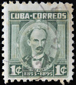 CUBA - CIRCA 1953: A stamp printed in Cuba shows portrait of poet and revolutionary Jose Marti (1853-1895), circa 1953 — Stockfoto