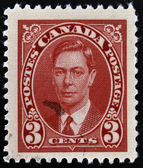CANADA - CIRCA 1935: A stamp printed in Canada shows portrait of King George VI, circa 1935 — Photo