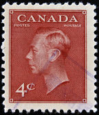 CANADA - CIRCA 1949: A stamp printed in Canada, shows portrait of King George VI (1895-1952), circa 1949 — 图库照片