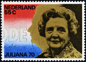 NETHERLANDS - CIRCA 1970: A stamp printed in Holland honoring Queen Juliana's 70th Birthday, circa 1970 — Stock Photo