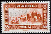 MOROCCO - CIRCA 1934: A stamp printed in Morocco shows capital city of Rabat on the Atlantic coast, circa 1934 — Stock Photo