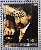 DJIBOUTI - CIRCA 2009: stamp dedicated to French Nobel chemistry prize shows Victor Grignard, circa 2009 — 图库照片