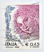 ITALY - CIRCA 2004: A stamp printed in Italy shows Woman portrait by Titian, circa 2004 — Stock Photo