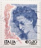 Italia - intorno al 2002: francobollo stampato in italia illustrato ritratto di danae di correggio, circa 2002 — Foto Stock