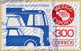 MEXICO - CIRCA 1988: a stamp printed in Mexico shows Motor Vehicle, Mexican Export, circa 1988 — Stock Photo