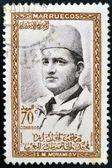 MOROCCO - CIRCA 1957: A stamp printed in Morocco shows Sultan Mohammed V, circa 1957 — Foto de Stock