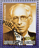 DJIBOUTI - CIRCA 2009: stamp dedicated to French Nobel chemistry prize shows Yves Chauvin, circa 2009 — 图库照片