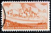 UNITED STATES OF AMERICA - CIRCA 1954: A stamp printed in USA shows Kansas Territorial Centennial, circa 1954 — Stock Photo