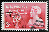 UNITED STATES OF AMERICA - CIRCA 1948: A stamp printed in USA showing Moina Michael, founder of memorial poppy, circa 1948 — Stock Photo