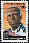 UNITED STATES OF AMERICA - CIRCA 1989: A stamp printed in USA, shows Asa Philip Randolph, Labor and Civil Rights Leader, Black Heritage, circa 1989 — Stock Photo