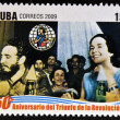 CUB- CIRC2009: stamp printed in cubdedicated to 50 anniversary of triumph of revolution, shows Fidel in creation of Federation of CubWomen, circ2009 — стоковое фото #29893989