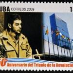 CUBA - CIRCA 2009: A stamp printed in cuba dedicated to 50 anniversary of the triumph of the revolution, shows Che Guevara at the UN, circa 2009 — Stock Photo