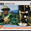 CUBA - CIRCA 2009: A stamp printed in cuba dedicated to 50 anniversary of the triumph of the revolution, shows agrarian reform law, Farmer's Day, circa 2009 — Stockfoto