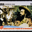 CUB- CIRC2009: stamp printed in cubdedicated to 50 anniversary of triumph of revolution, shows Camilo Cienfuegos dissolves Bureau for Repression of Communist Activities — Stock Photo #29894233