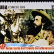 CUBA - CIRCA 2009: stamp printed in cuba dedicated to 50 anniversary of the triumph of the revolution, shows Camilo Cienfuegos dissolves the Bureau for the Repression of Communist Activities — Stock Photo