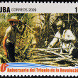 CUB- CIRC2009: stamp printed in cubdedicated to 50 anniversary of triumph of revolution, shows first harvest of people, circ2009 — Stock Photo #29894355