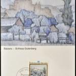 Постер, плакат: LIECHTENSTEIN CIRCA 1983: A stamp printed in Liechtenstein dedicated to landscapes by Anton Ender shows Balzers Gutemberg Castle circa 1983