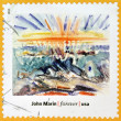 Stock Photo: UNITED STATES OF AMERICA - CIRCA 2013: A stamp printed in USA dedicated to modern art in america shows Sunset, Maine Coast by John Marin, circa 2013
