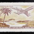 Stock Photo: CHILE - CIRC1972: stamp printed in Chile commemorates establishment of regular flights from Santiago de Chile to Easter Island and Tahiti, circ1972