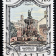 ITALY - CIRCA 1978: a stamp printed in Italy shows Neptune Fountain, Trento, Italy, circa 1978 — Stock Photo