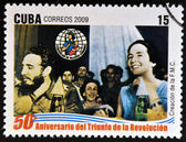 CUBA - CIRCA 2009: A stamp printed in cuba dedicated to 50 anniversary of the triumph of the revolution, shows Fidel in the creation of the Federation of Cuban Women, circa 2009 — Stock Photo