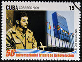 CUBA - CIRCA 2009: A stamp printed in cuba dedicated to 50 anniversary of the triumph of the revolution, shows Che Guevara at the UN, circa 2009 — Stock Photo