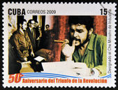 CUBA - CIRCA 2009: A stamp printed in cuba dedicated to 50 anniversary of the triumph of the revolution, shows Che appointed Minister of Industry, circa 2009 — Stock Photo
