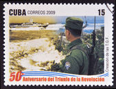 CUBA - CIRCA 2009: A stamp printed in cuba dedicated to 50 anniversary of the triumph of the revolution, shows creation of the Border Patrol, circa 2009 — Stock Photo