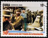 CUBA - CIRCA 2009: A stamp printed in cuba dedicated to 50 anniversary of the triumph of the revolution, shows creation of the National Revolutionary Police, circa 2009 — Stock Photo