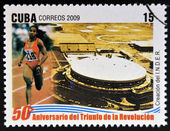 CUBA -CIRCA 2009: stamp printed in cuba dedicated to 50 anniversary of the triumph of the revolution, shows creation of the National Institute of Sports, Physical Education and Recreation, circa 2009 — Stock Photo